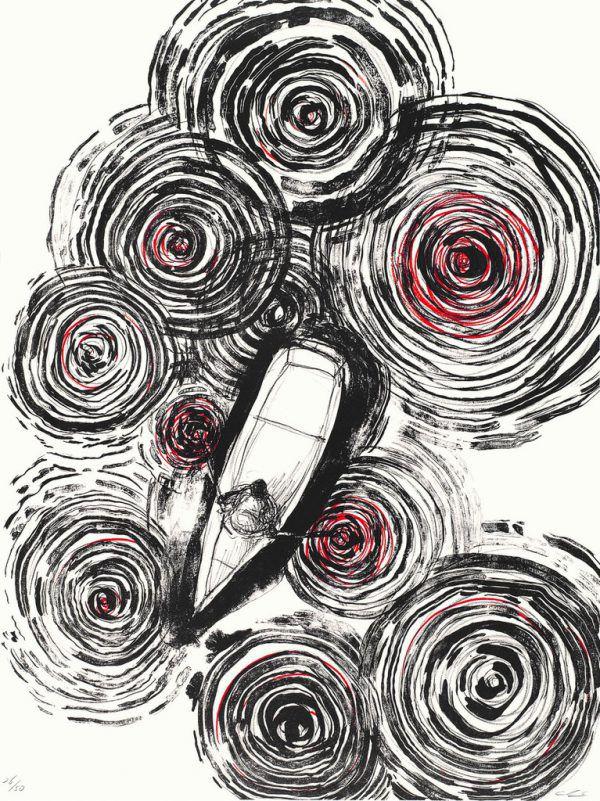 """Chiharu Shiota und die Druckmaschine. Kleines Bild: """"Sailing in the Sky"""", 2020.Museum für Druckgrafik Rankweil (2)"""