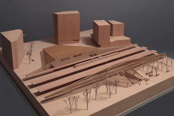 Modellansicht der aktuellen Pläne für den neuen Bahnhof in Bregenz.Gnädinger Modellbau