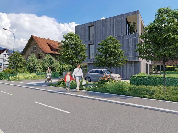 Visualisierung des Wohnhaus in Rankweil.Prisma Unternehmensgruppe