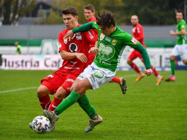 Das letzte Pflichtspiel der Lustenauer Austria war das Derby gegen den FC Dornbirn am ersten Novembertag. gepa/lerch
