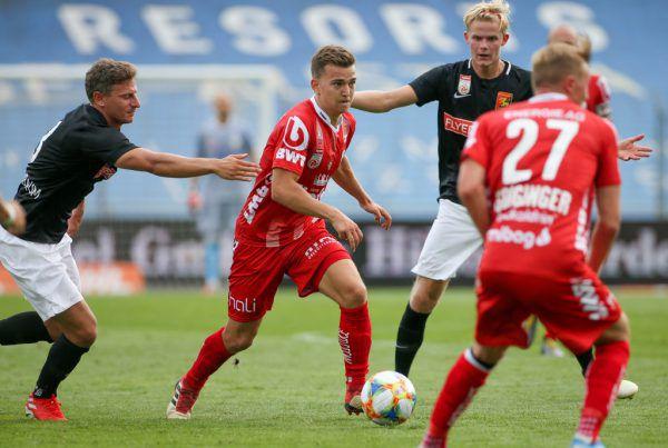 Gegen die Admira (l.) erzielte Müller im August 2019 seinen bisher einzigen Bundesligatreffer. Monate zuvor kickte er noch für Altach (r.) GEPA (2)