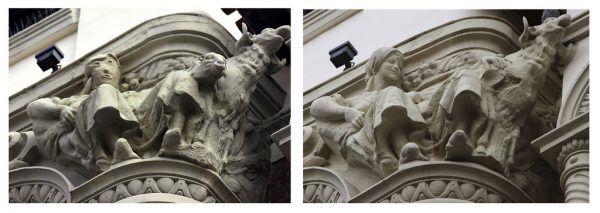 Links die verhunzte Skulptur an der Fassade. Es ist nicht der erste Fall dieser Art in Nordspanien.AP