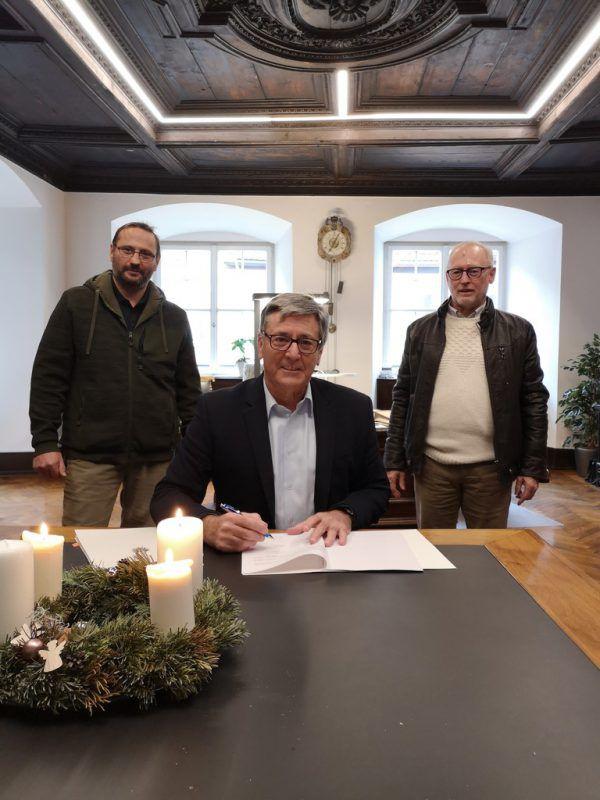 Bürgermeister Matt (Mitte) und Stadtrat Keckeis (r.).Stadt Feldkirch