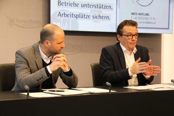 Wirtschaftslandesrat Marco Tittler (l.) und Wirtschaftskammerpräsident Hans Peter Metzler.vol.at