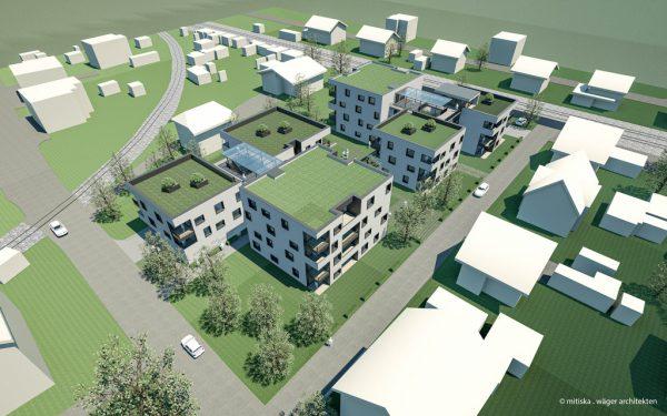 Die neuen Werkswohnungen von oben.mitiska · wäger architekten
