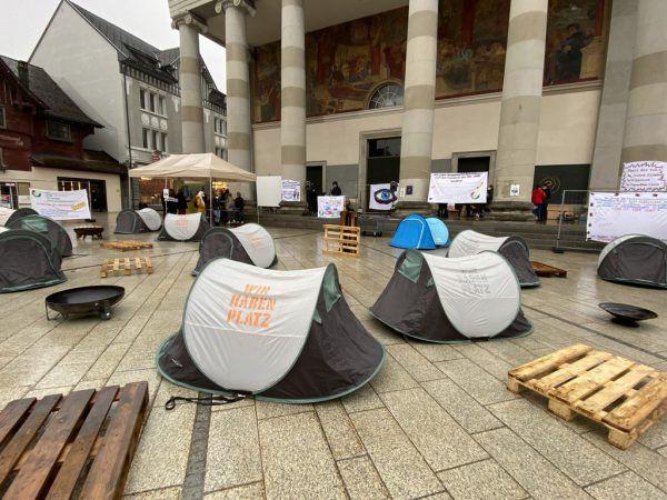 Protest-Camp am Dornbirner Marktplatz. VOL.at/mayer