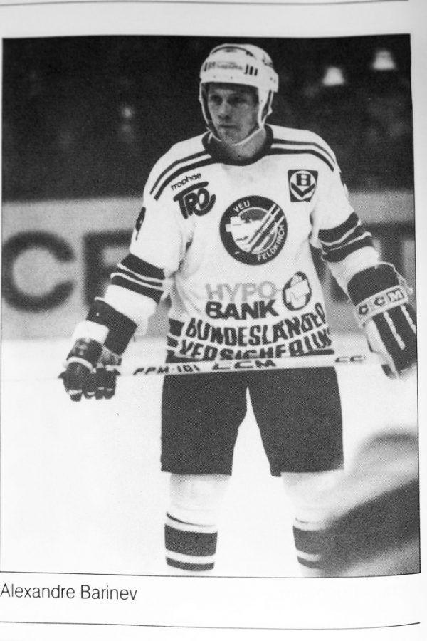 Barinev im Dress der VEU.Links: Greenbank und Barinev feiern am 22.2. 1982 in Klagenfurt den ersten von vier Meistertiteln.Unten: Der Spielerpass von Barinev.