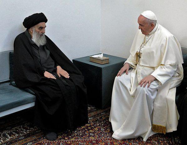 Großayatollah Ali al-Sistani und Papst Franziskus. AFP