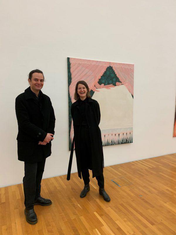 Sarah Bechter und Ioannis Malegiannakis vor einem Werk von Bechter. Wolfgang Ölz
