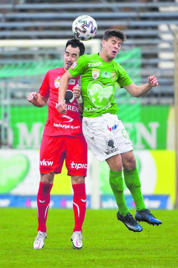Dornbirn gewann im Herbst das Derby in Lustenau mit 1:0. Die Austrianer wollen sich heute mit einem Sieg auf der Birkenwiese revanchieren. GEPA/Lerch
