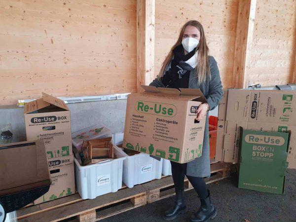 Eine Re-Use-Box kann man in fünf ASZ, zwei Bauhöfen und einem Werkhof abholen und wieder abgeben.Vorarlberger Gemeindeverband
