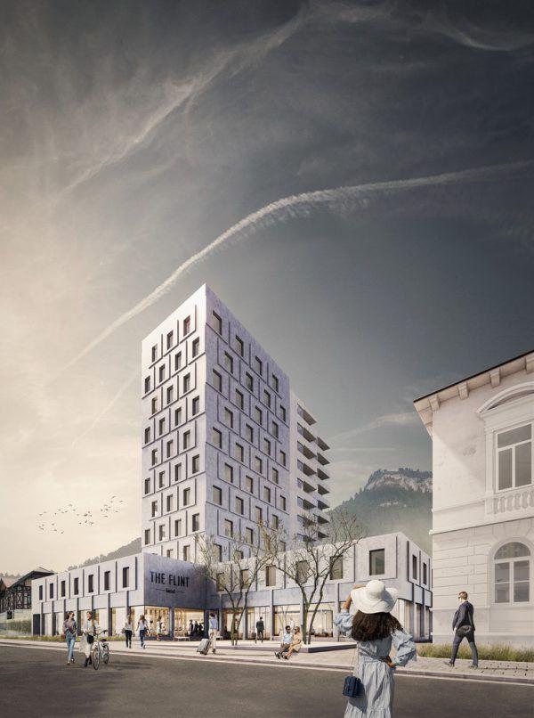 """Gut 14 Millionen Euro fließen in das Hotel-Projekt """"the flint"""".Rendering/marte.marte"""
