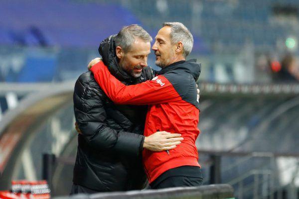 Während Marco Rose (l.) zu Borussia Dortmund wechselt, übernimmt Adi Hütter den Trainerposten bei Mönchengladbach.apa