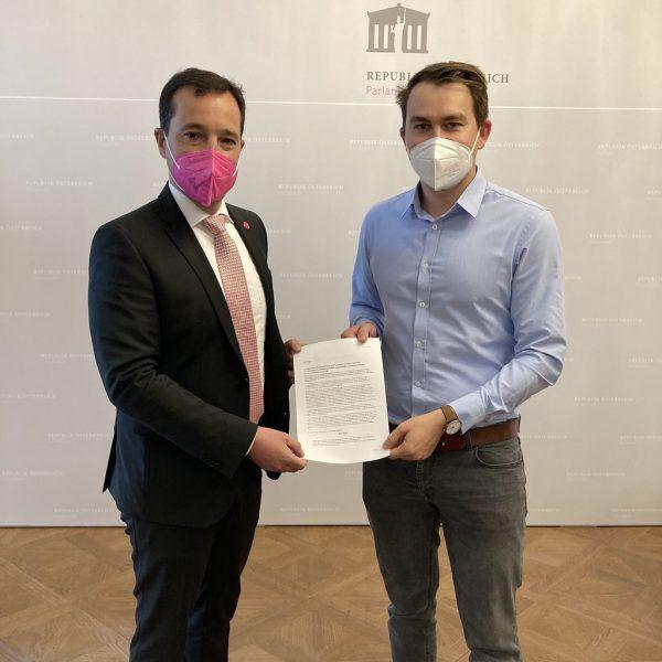 Gerald Loacker (l.) und Mathias Schwabegger.Neos