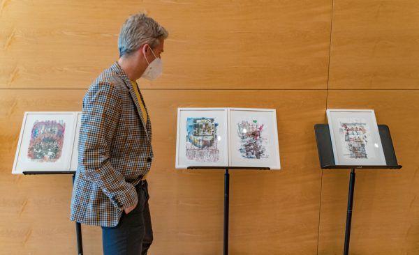 Musikalische Einlage von SOV-Musikern beim Pressetermin im Festspielhaus. Kleine Bilder: Leo McFall war live zugeschaltet, und Harald Gfaders Werke sind wieder Teil der Programmheft-Gestaltung. Dietmar Stiplovsek (3)