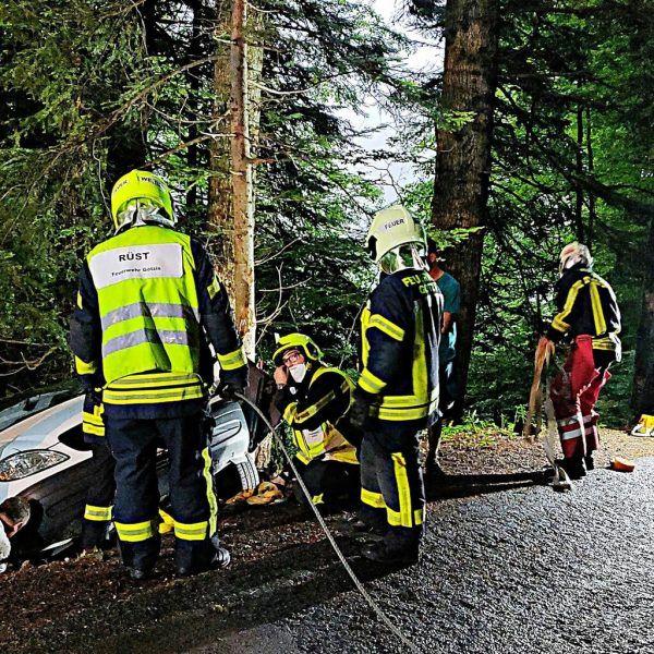 Feuerwehr hievte Pkw wieder auf die Straße. FW Götzis