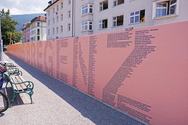 Am Bauzaun. Stadt Bregenz