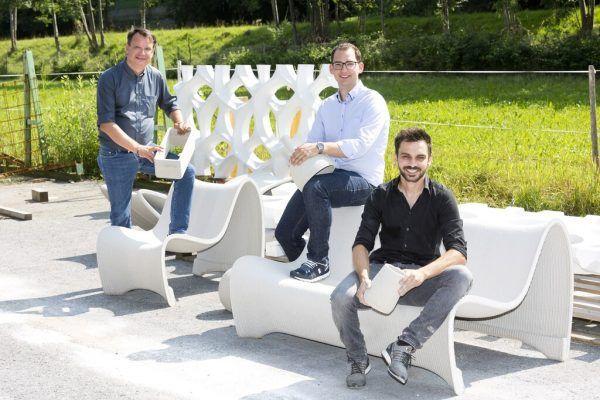 Die Geschäftsführer von Concrete 3D Philipp Tomaselli und Markus Loacker mit Bereichsleiter Michael Gabriel (v.l.).Concrete 3D/Mathis (2)