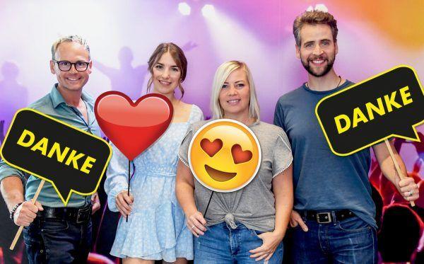 Die Moderatoren und Moderatorinnen Martin Veith, Nina Früh, Sandra Tasek und Bernd Tomaselli. Antenne Vorarlberg