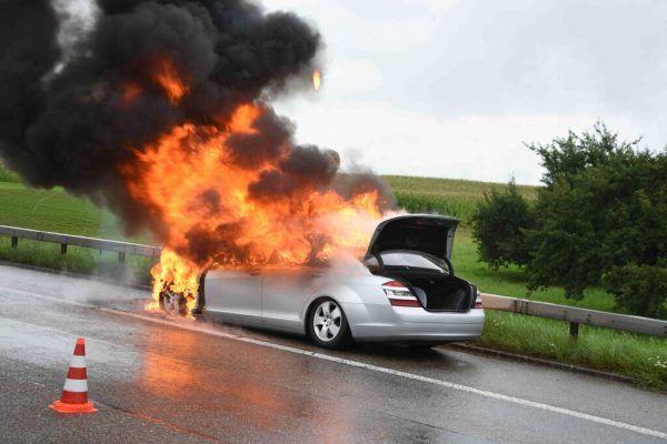 Der Wagen brannte völlig aus. Kantonspolizei st. gallen