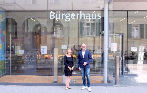 Die neue Abteilungsleiterin Andrea Trappel-Pasi und Bürgermeister Michael Ritsch.Stadt Bregenz