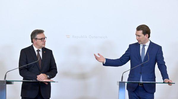 Günther Platter (l.) und Sebastian Kurz bei einer Pressekonferenz am 9. Juli.APA
