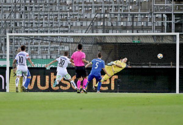 Ivan Ljubic (Rückennummer 30) erzielte am 1. August 2019 das bisher letzte Tor im Europacup für den SK Sturm. Es war das 2:0 gegen Haugesund aus Norwegen. gepa