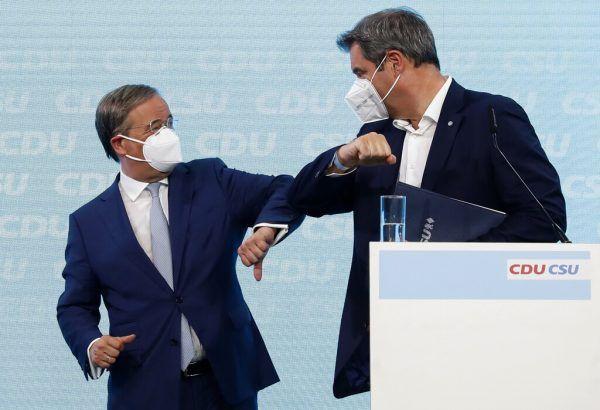 Kanzlerkandidat Armin Laschet (CDU, l.) mit dem bayrischen Ministerpräsidenten Markus Söder (CSU). AP