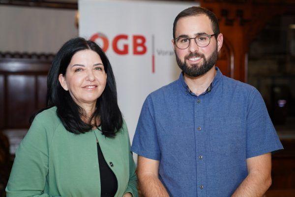ÖGB-Landesgeschäftsführerin Manuela Auer und Rechtsschutzsekretär Manuel Ganahl. ÖGB