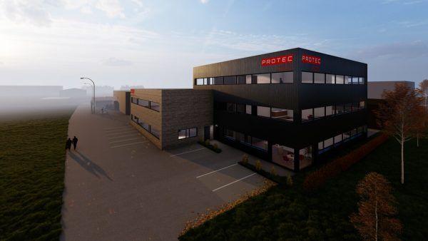So soll der neue Firmensitz nach der Fertigstellung aussehen. Rhomberg/Protec, Protec
