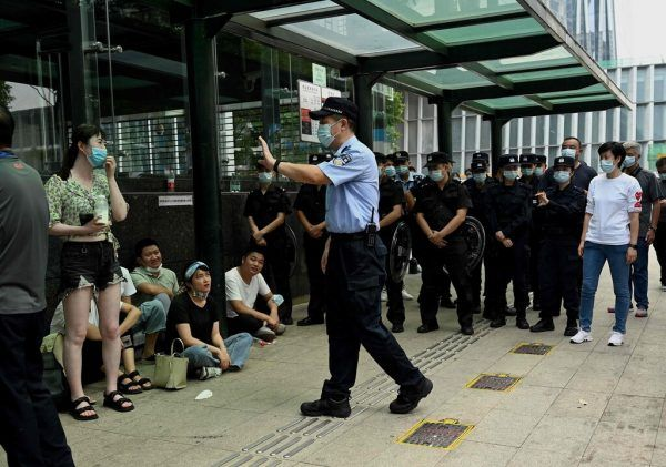 Am Sitz von Evergrande in Shenzhen gab es Proteste.AFP