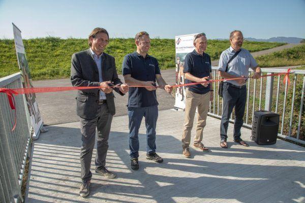 Gerd Hölzl (Bürgermeister Koblach), Mathias Speckle (Rheinbauleiter Österreich), Walter Sandholzer (Vorsitzender der Gemeinsamen Rheinkommission) und Rainer Siegele (Bürgermeister Mäder). IRR