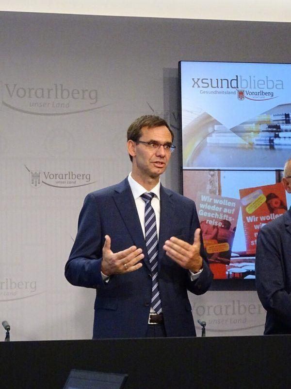 Landeshauptmann Markus Wallner im Pressefoyer.VLK