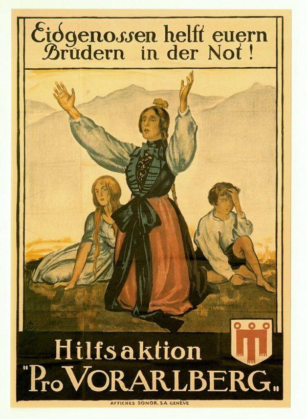 Plakat der Schweizer Hilfsaktion Pro Vorarlberg, 1919. Landesarchiv